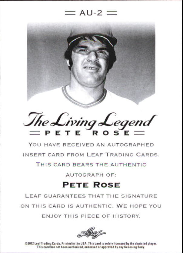 2012 Leaf Pete Rose The Living Legend #2 Pete Rose back image