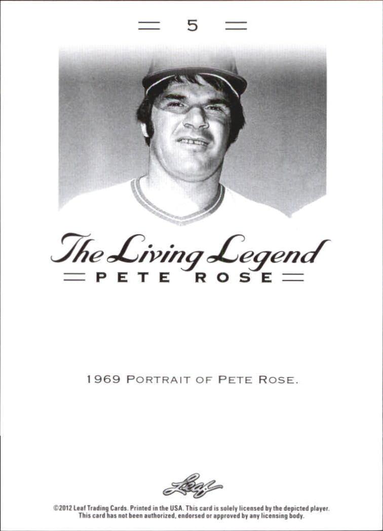 2012 Leaf Pete Rose The Living Legend #5 Pete Rose back image