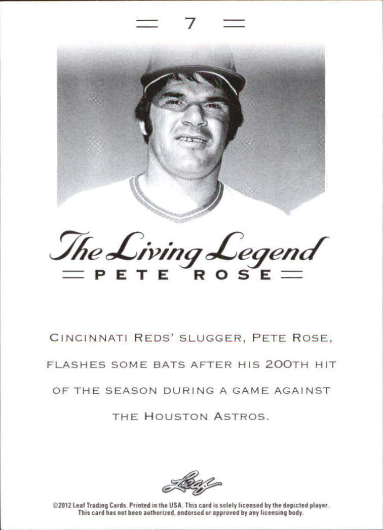 2012 Leaf Pete Rose The Living Legend #7 Pete Rose back image