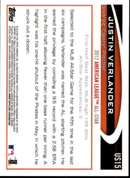 2012 Topps Update #US15A Justin Verlander back image