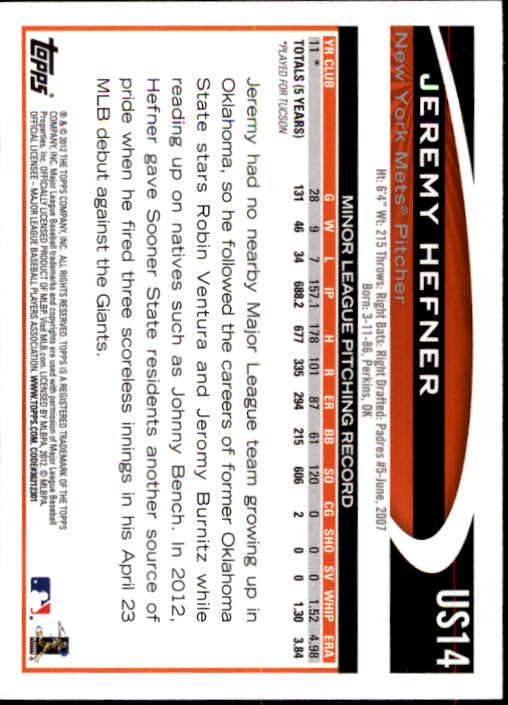 2012 Topps Update #US14 Jeremy Hefner RC back image