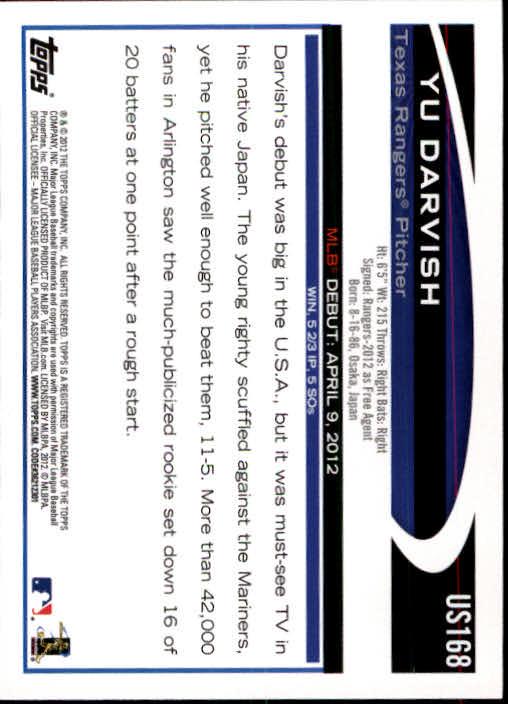 2012 Topps Update #US168 Yu Darvish RC back image