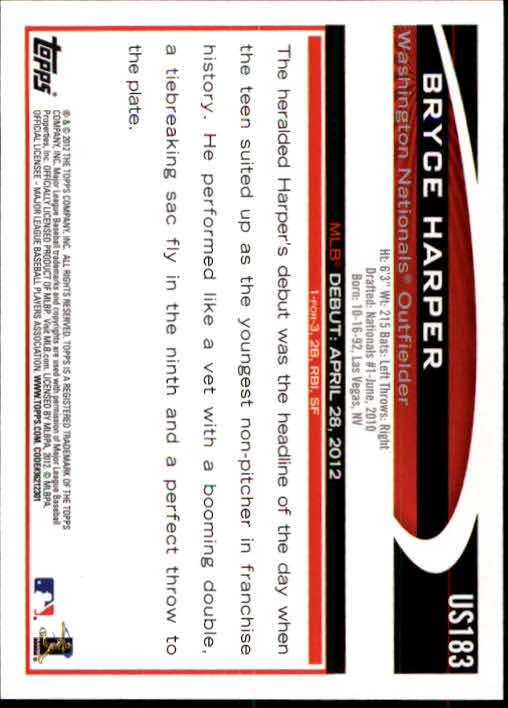 2012 Topps Update #US183 Bryce Harper RC back image