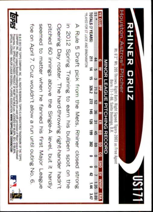 2012 Topps Update #US171 Rhiner Cruz RC back image