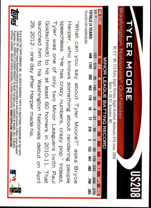 2012 Topps Update #US208 Tyler Moore RC back image