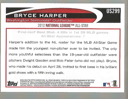 2012 Topps Update #US299A Bryce Harper back image