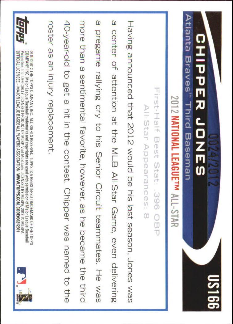 2012 Topps Update Gold #US166 Chipper Jones back image