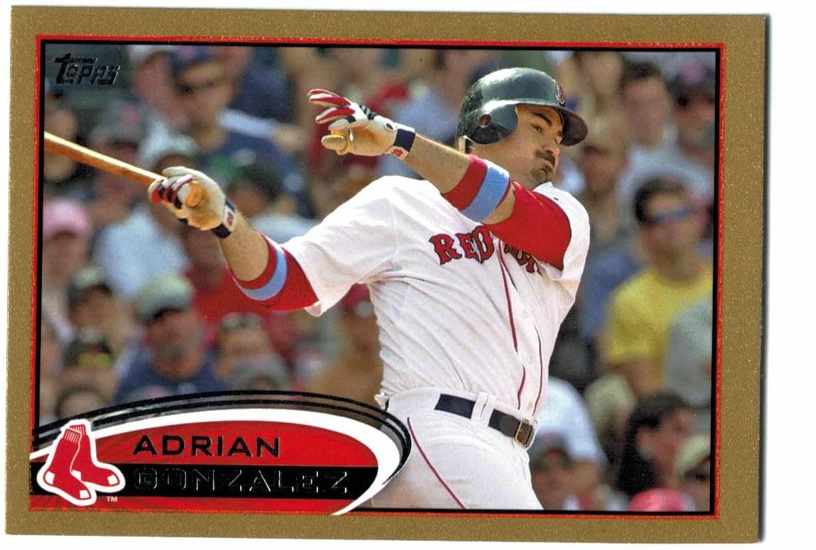dc200746c 2012 Topps Gold Boston Red Sox Baseball Card  50 Adrian Gonzalez 2012