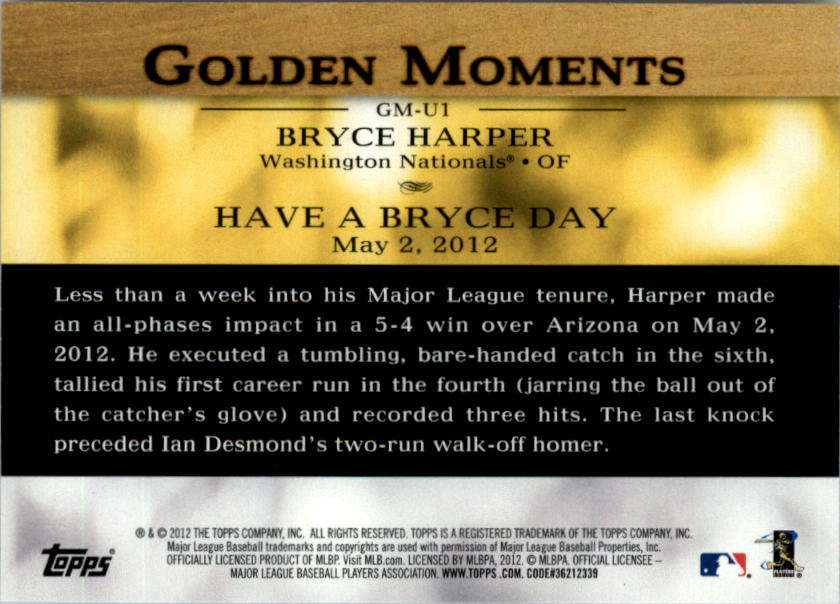 2012 Topps Update Golden Moments #GMU1 Bryce Harper back image