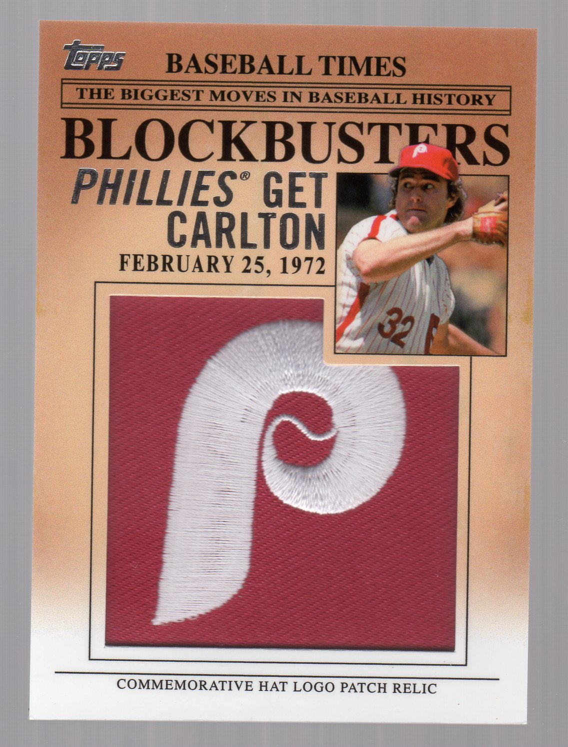 2012 Topps Update Blockbusters Commemorative Hat Logo Patch #BP24 Steve Carlton