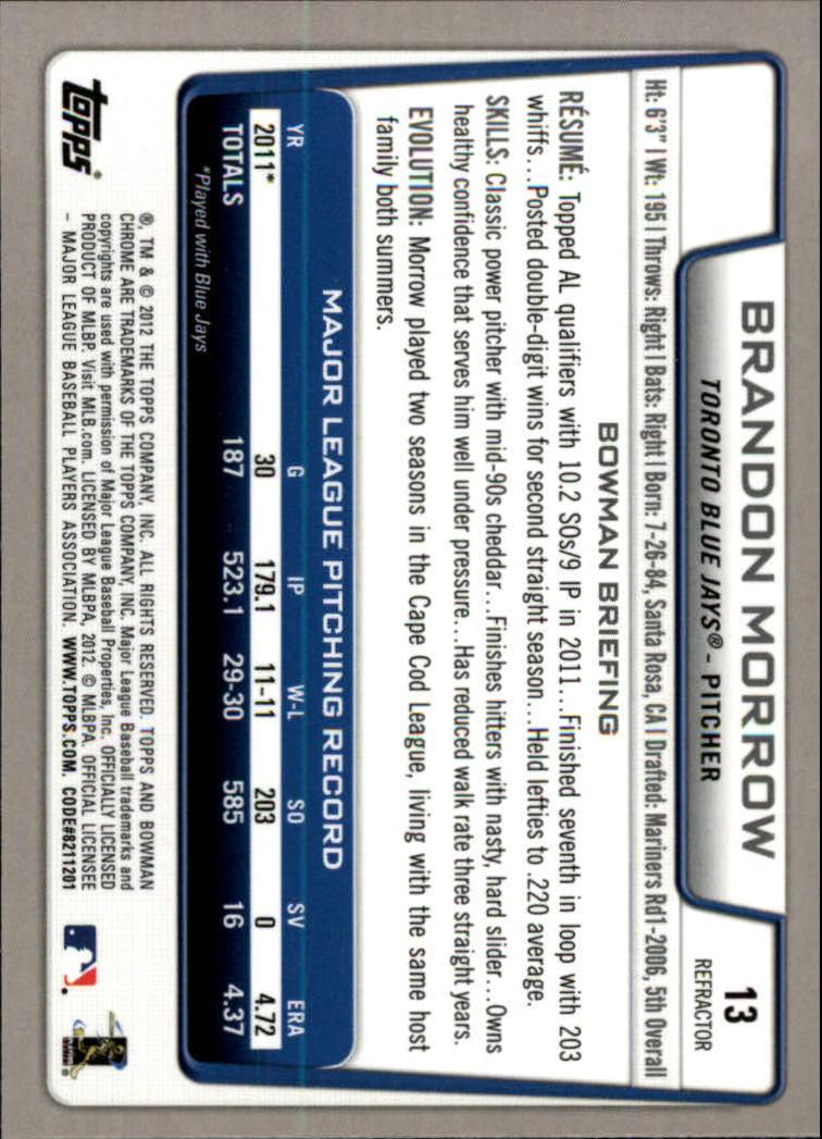 2012 Bowman Chrome Refractors #13 Brandon Morrow back image