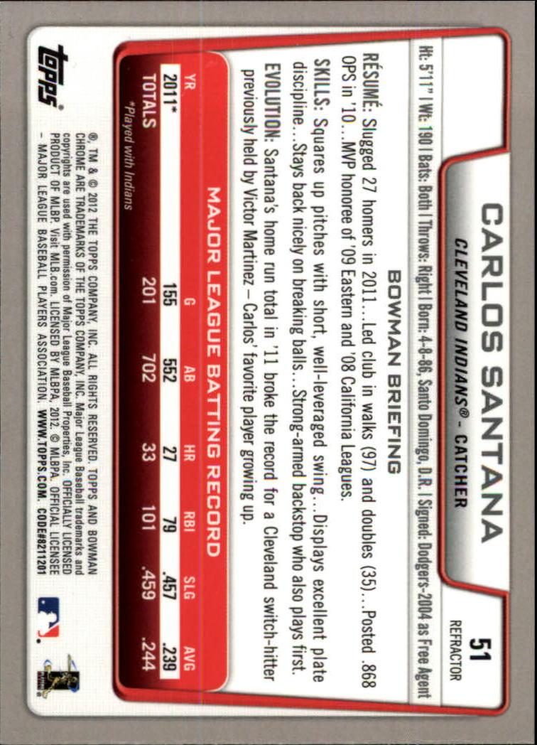 2012 Bowman Chrome Refractors #51 Carlos Santana back image