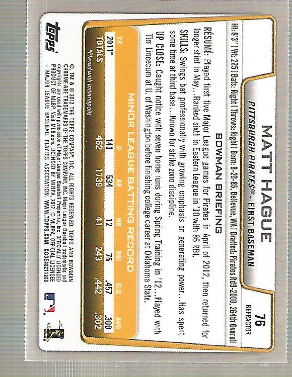 2012 Bowman Chrome Refractors #76 Matt Hague back image