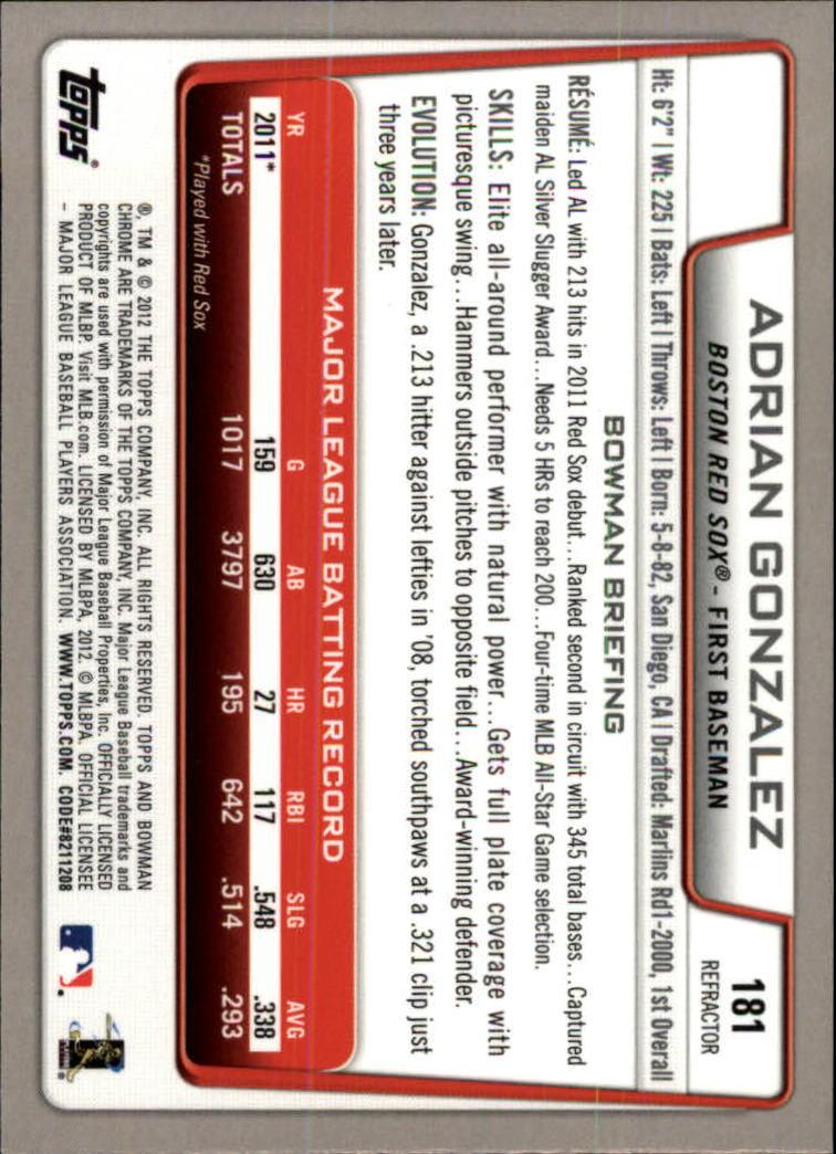 2012 Bowman Chrome Refractors #181 Adrian Gonzalez back image