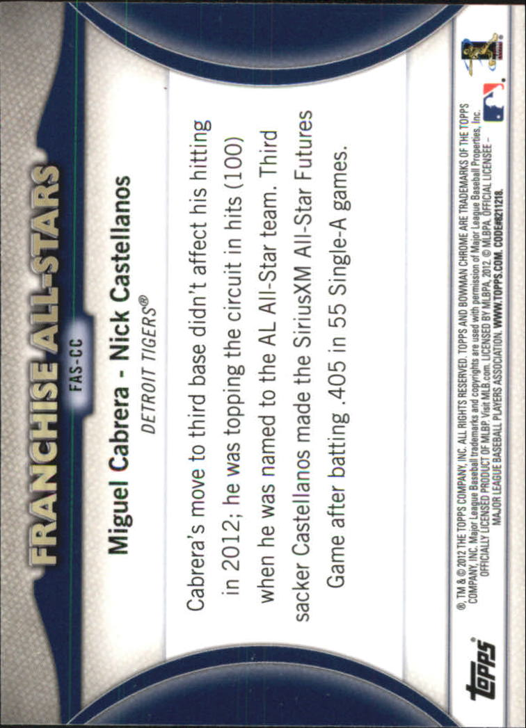 2012 Bowman Chrome Franchise All-Stars #CC Miguel Cabrera/Nick Castellanos back image