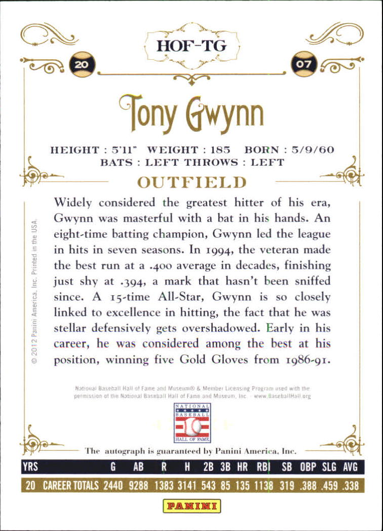 2012 Panini Cooperstown Signatures #15 Tony Gwynn/99 back image