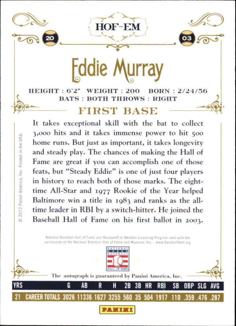 2012 Panini Cooperstown Signatures #34 Eddie Murray/100 back image