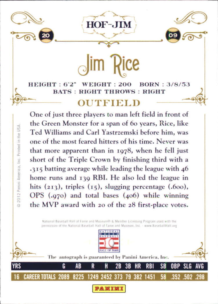 2012 Panini Cooperstown Signatures #53 Jim Rice/599 back image