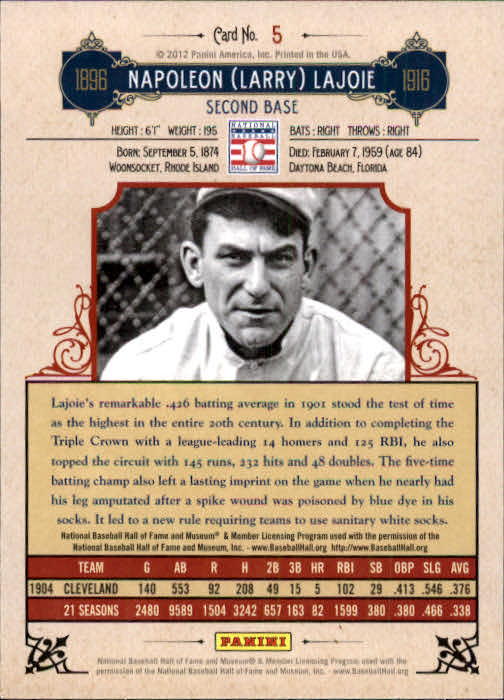 2012 Panini Cooperstown #5 Nap Lajoie back image