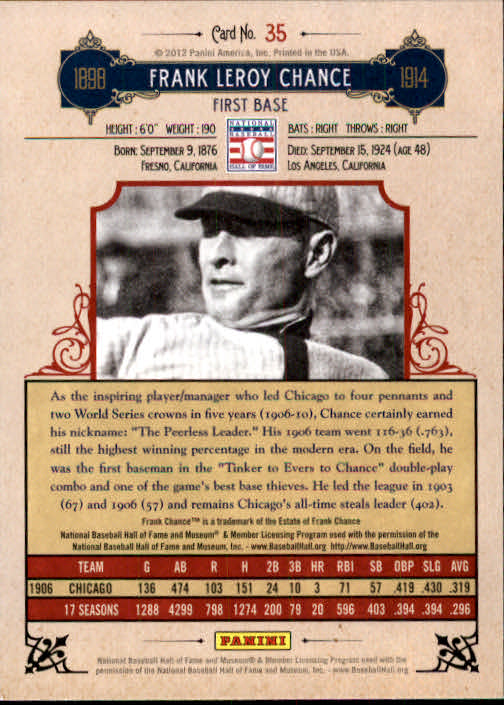 2012 Panini Cooperstown #35 Frank Chance back image