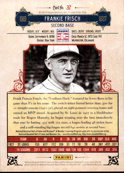 2012 Panini Cooperstown #37 Frankie Frisch back image