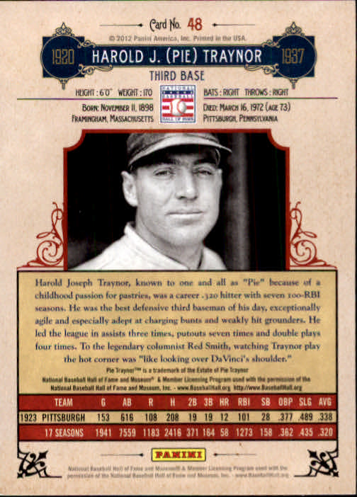 2012 Panini Cooperstown #48 Pie Traynor back image