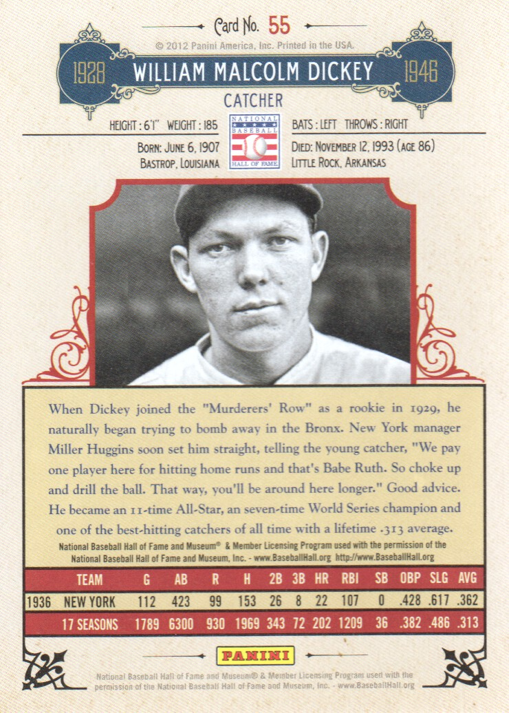 2012 Panini Cooperstown #55 Bill Dickey back image