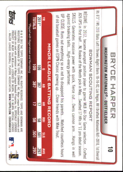 2012 Bowman Draft #10 Bryce Harper RC back image
