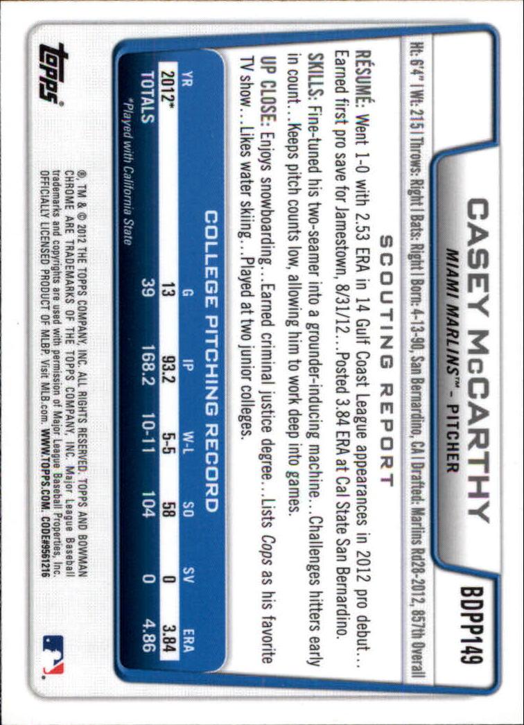 2012 Bowman Chrome Draft Draft Picks #BDPP149 Casey McCarthy back image