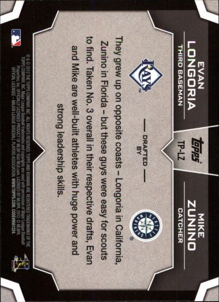 2012 Bowman Draft Dual Top 10 Picks #LZ Evan Longoria/Mike Zunino back image