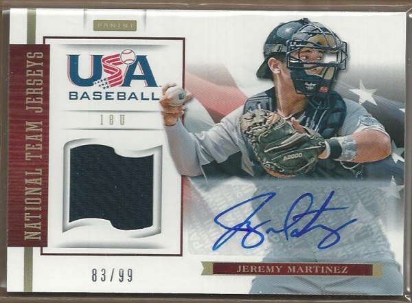 2012 USA Baseball 18U National Team Jersey Signatures #11 Jeremy Martinez