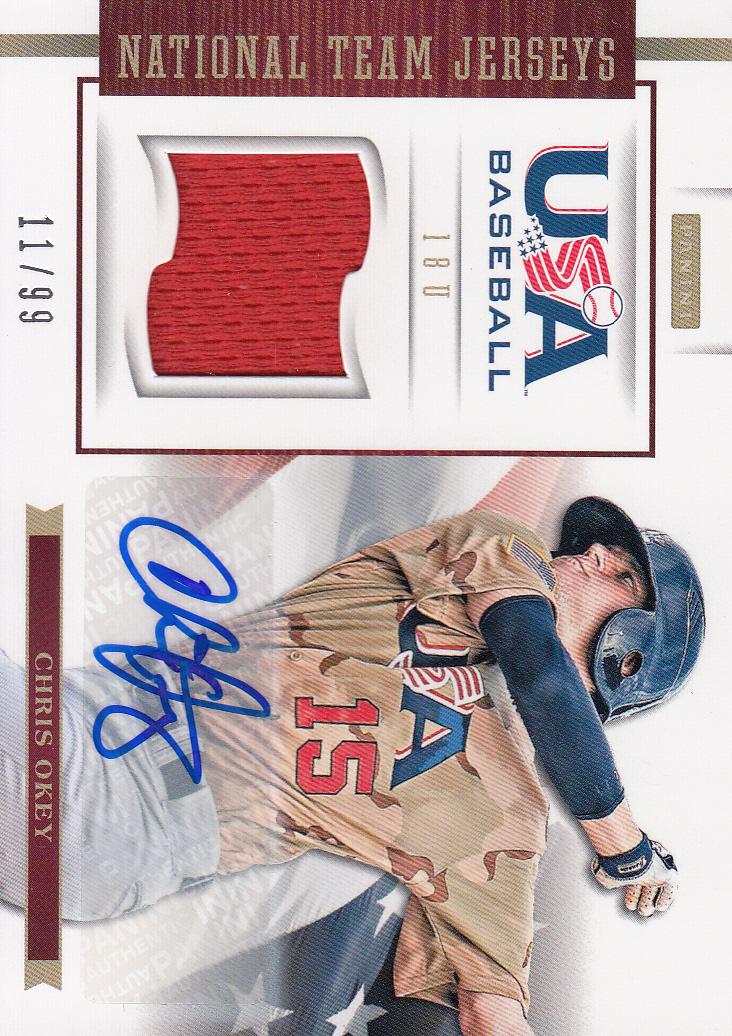 2012 USA Baseball 18U National Team Jersey Signatures #14 Chris Okey
