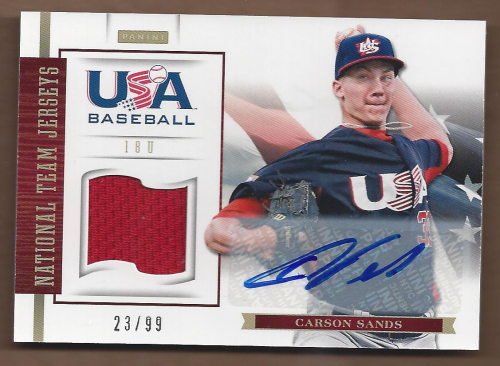 2012 USA Baseball 18U National Team Jersey Signatures #16 Carson Sands