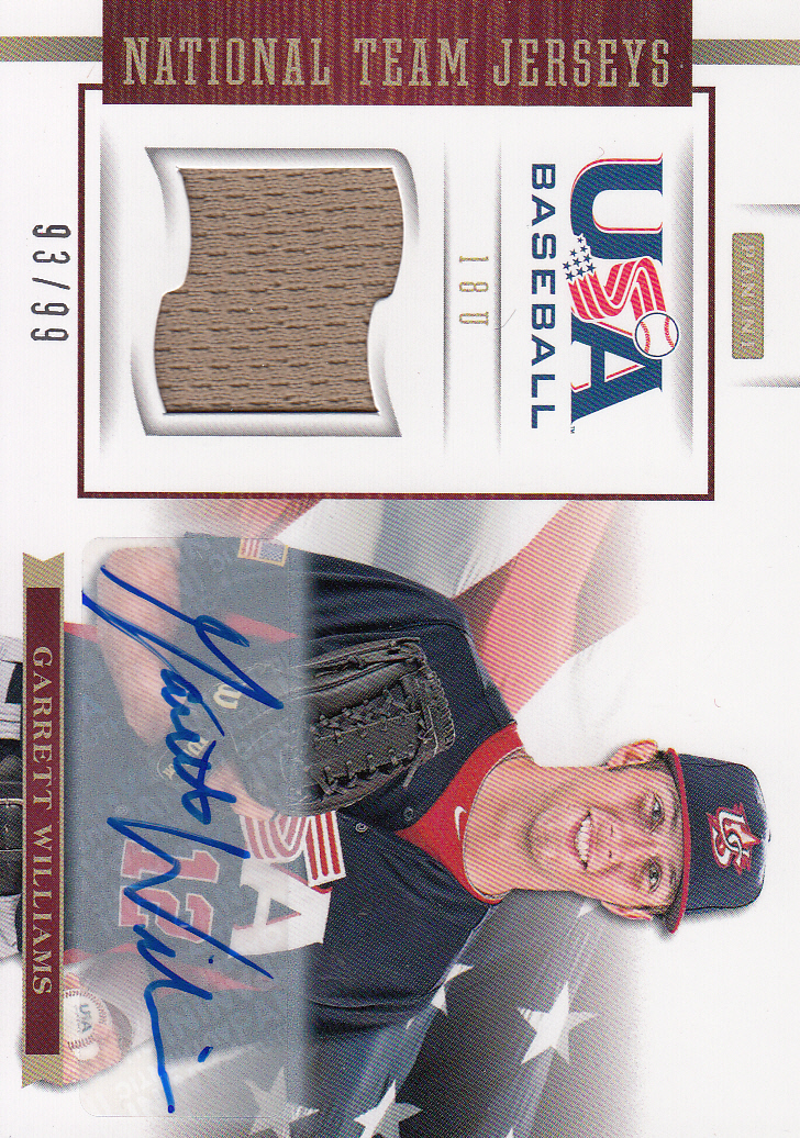 2012 USA Baseball 18U National Team Jersey Signatures #19 Garrett Williams