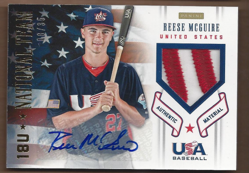 2012 USA Baseball 18U National Team Patches Signatures #12 Reese McGuire