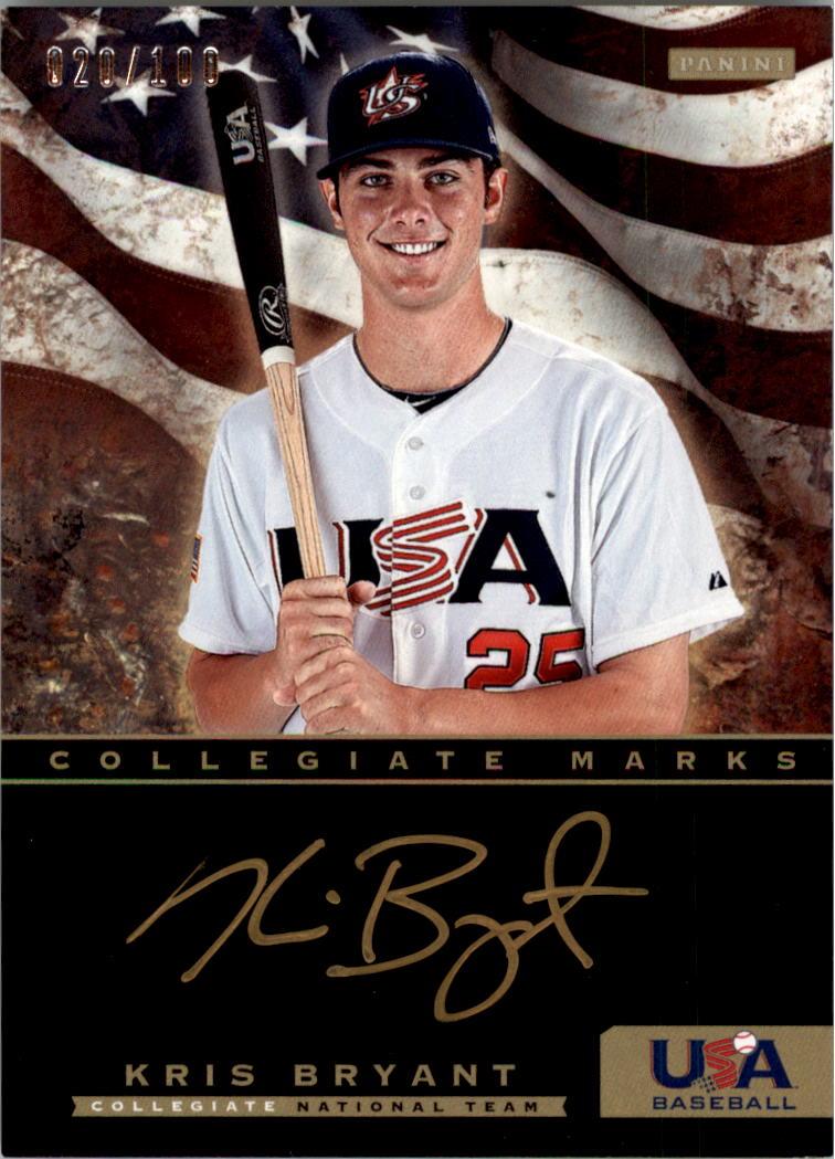2012 USA Baseball Collegiate National Team Collegiate Marks Signatures #2 Kris Bryant