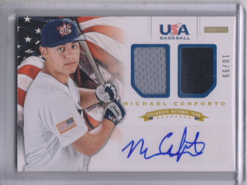 2012 USA Baseball Collegiate National Team Dual Jerseys Signatures #4 Michael Conforto