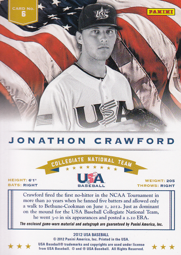 2012 USA Baseball Collegiate National Team Dual Jerseys Signatures #6 Jonathon Crawford back image