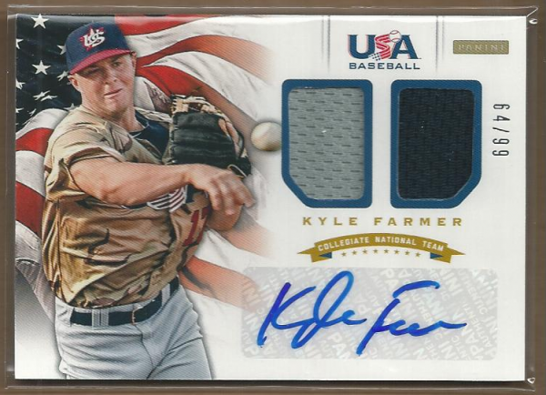 2012 USA Baseball Collegiate National Team Dual Jerseys Signatures #7 Kyle Farmer