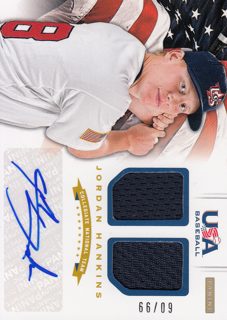 2012 USA Baseball Collegiate National Team Dual Jerseys Signatures #12 Jordan Hankins