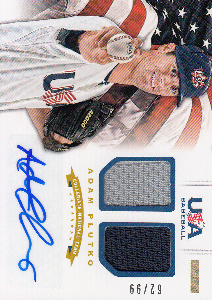 2012 USA Baseball Collegiate National Team Dual Jerseys Signatures #16 Adam Plutko