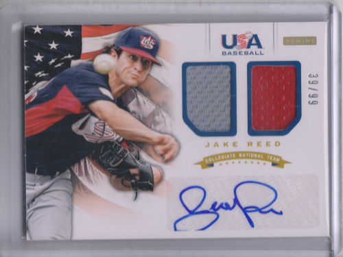 2012 USA Baseball Collegiate National Team Dual Jerseys Signatures #17 Jake Reed
