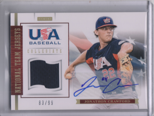 2012 USA Baseball Collegiate National Team Jersey Signatures #6 Jonathon Crawford