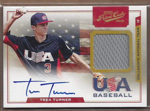 2012 Prime Cuts USA Baseball Collegiate National Team Game Jersey Signatures #20 Trea Turner/199