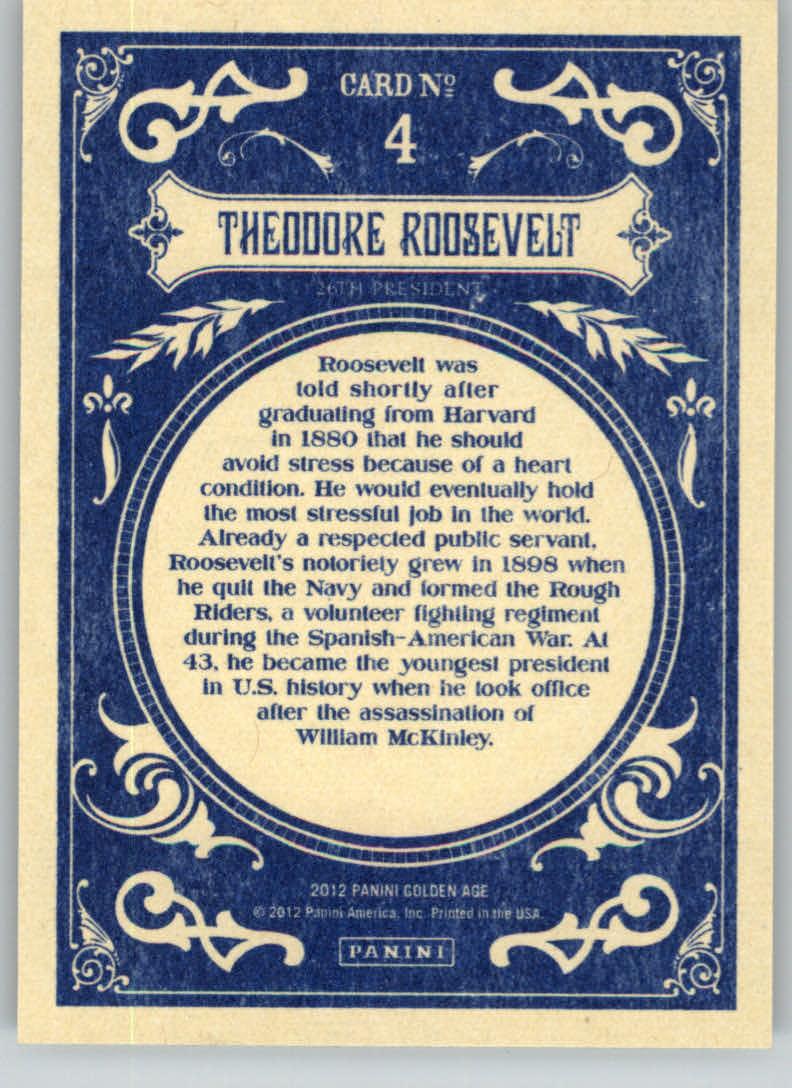 2012 Panini Golden Age #4 Theodore Roosevelt back image