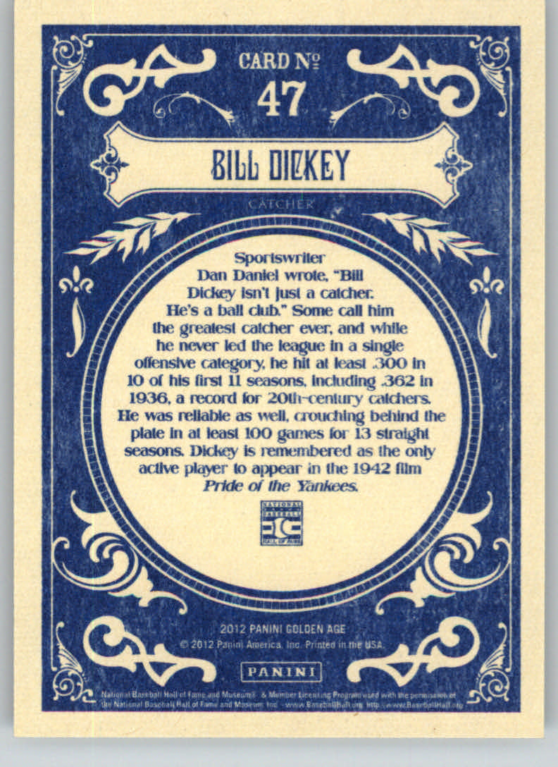 2012 Panini Golden Age #47 Bill Dickey back image