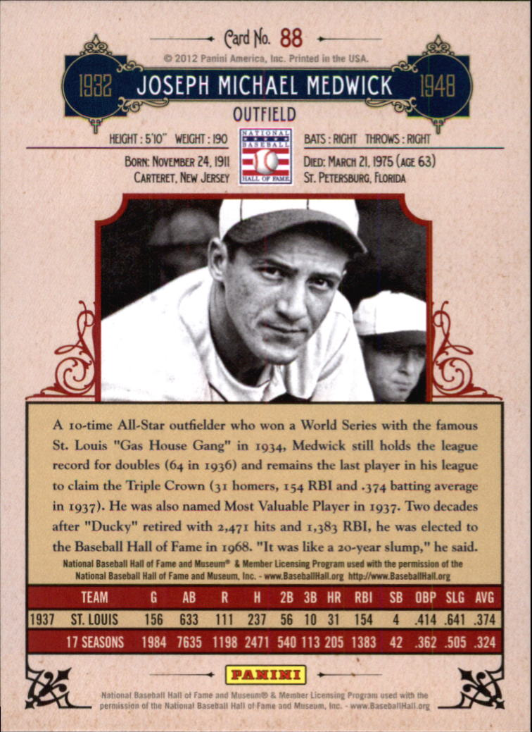 2012 Panini Cooperstown Crystal Collection Blue #88 Joe Medwick back image