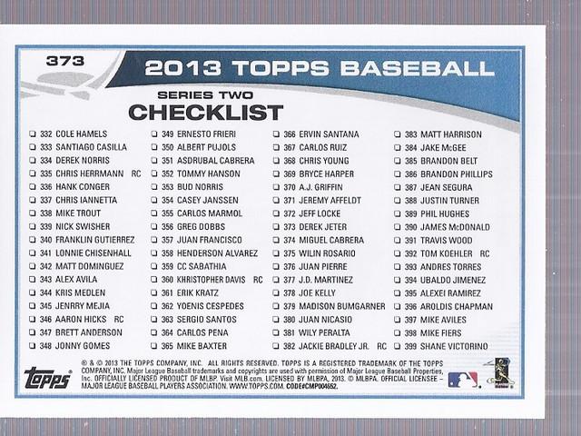 2013 Topps #373 Derek Jeter back image
