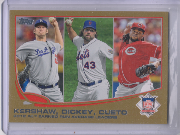 2013 Topps Gold #81 Clayton Kershaw/Johnny Cueto/R.A. Dickey