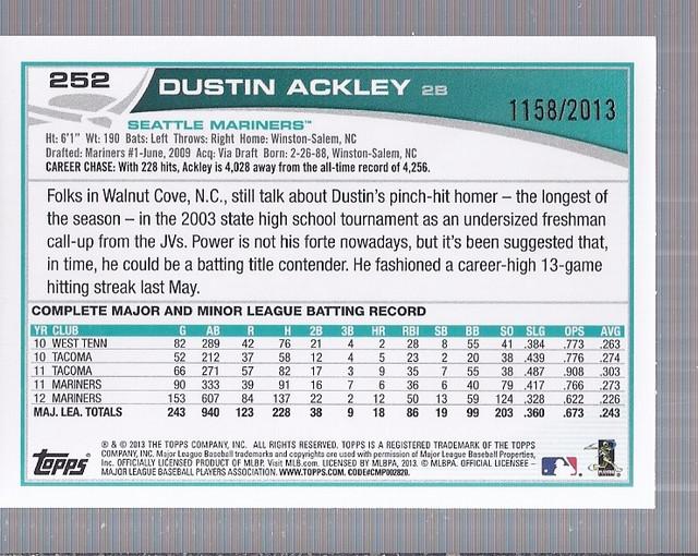 2013 Topps Gold #252 Dustin Ackley back image
